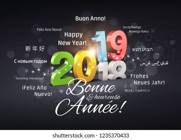 Colorful New Year 2019 date number above ending year 2018 and greetings in French and foreign languages, on a glittering black background - 3D illustration