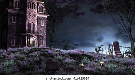 Colorful night scene with creepy manor on the top of the hill