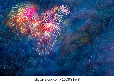 Colorful night sky, bright color fireworks  in heart shape for Festive occasion, Valentine's day, Chinese New Year, New Year, 4th of July, Diwali, Labor day, Pride night. Watercolor illustration.