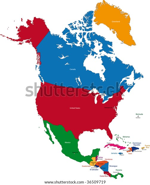Colorful North America Map Countries Capital ...