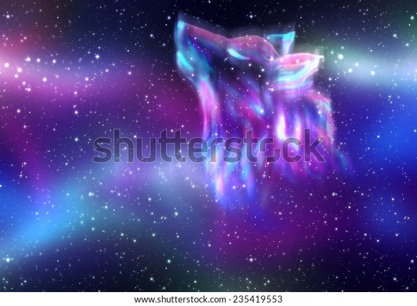 colorful northern sky howling wolf 600w 235419553