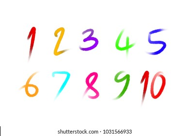 colorful number 1-10 written with a brush on white background