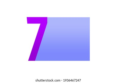 Colorful Number 7 Text Design Illustration on White background with Copy Space for Text and Logo .