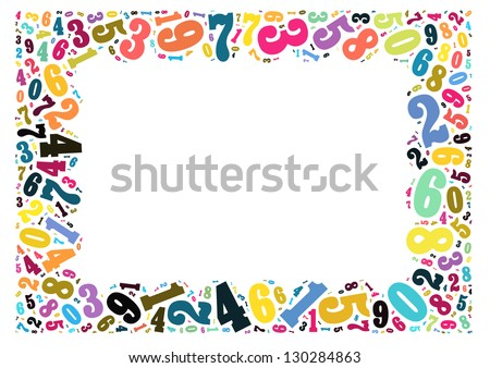 Colorful Numbers Frame Graphic Design Isolated Stock Illustration ...
