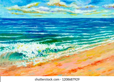 Colorful oil color paintings seascape on canvas colorful of beauty beach wave in summery, sea blue and sky, cloud background. Painted Impressionist image illustration.