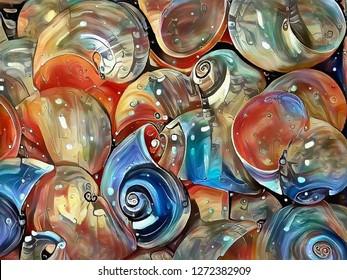 Colorful oil painting. Beautiful seashells. 3D rendering