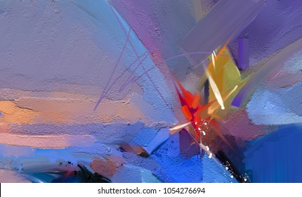 Colorful oil painting on canvas texture. Semi- abstract image of seascape paintings with sunlight background. Modern art oil paintings with boat, sail on sea. Abstract contemporary art for background