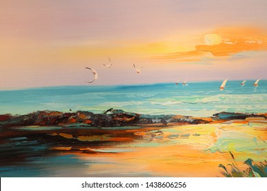 Colorful oil painting on canvas texture. Impressionism image of seascape paintings with sunlight background. Modern art oil paintings with boat, sail on sea.