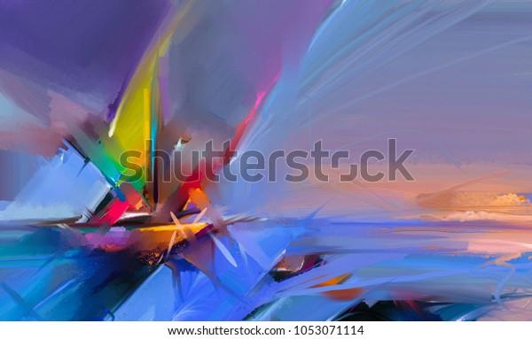 Illustration De Stock De Peinture A L Huile Coloree Sur Texture 1053071114