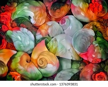 Colorful oil painting pattern. Beautiful seashells. 3D rendering