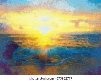 Colorful oil painting sunset sun on the sea.