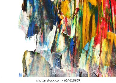 Colorful oil painting texture with brush strokes. Abstract background with isolated edge