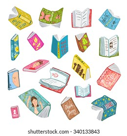 Colorful Open Books Drawing Library Collection. Big set of hand drawn brightly colored literature covers illustration. Raster variant.