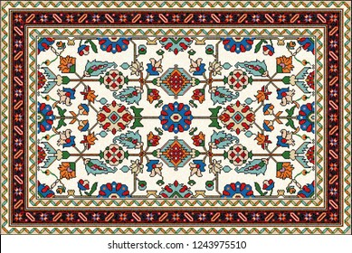Colorful oriental mosaic rug with a traditional floral motifs and classical geometric ornaments. Patterned carpet with a border frame. Cross stitch template.