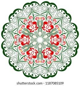 Colorful ornament design element, mandala on white isolated background.
