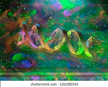 Colorful painting. DNA Strand. 3D rendering