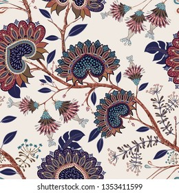 Colorful Paisley pattern for textile, cover, wrapping paper, web. Ethnic wallpaper with decorative elements. Indian decorative backdrop. Stylized climbing plants background