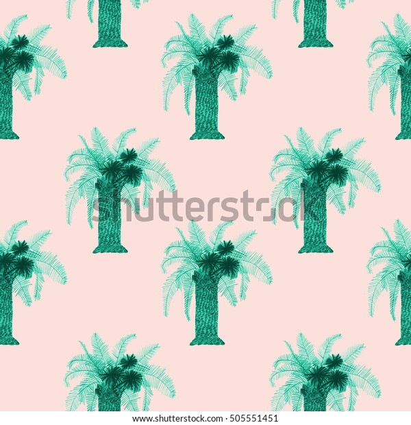 Colorful Palm Tree Drawing Seamless Pattern Stock