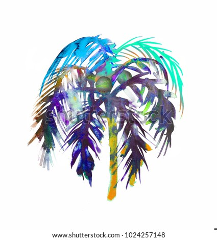 Colorful palm tree watercolor texture hand drawn illustration for summer t shirt, design, illustration