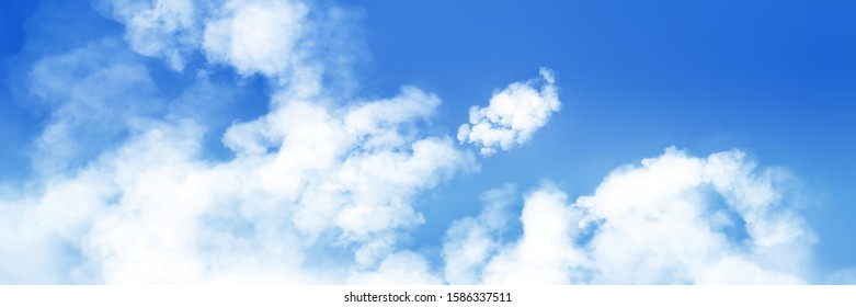Colorful panoramic landscape: blue sky and fluffy clouds. (Plane backplate, 3D rendering computer digitally generated illustration.)