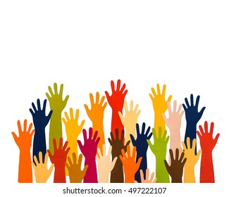 Colorful Paper Cut of Palm Hands and Arms isolated on white. Concept of volunteer, vote, voting, campaign, people, crowd, cooperation, suggestion, multicolored, election, politic, decision, democracy.