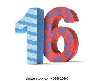 Colorful Paper Mache Number on a white background  - Number 16