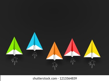 colorful paper planes or rockets , Business competition, start-up, boost or success concept.