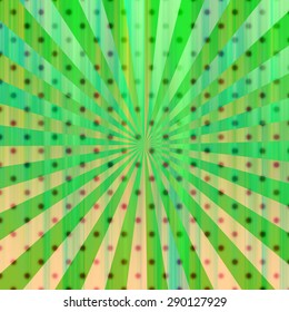 Colorful party background with blurry polka dots on sunburst pattern. Illustration.