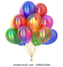 Colorful party balloons, happy birthday balloon bunch, holiday decoration. Multicolored different color celebration symbol. 3d illustration