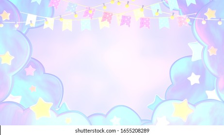 Colorful pastel bunting flags, garland light bulbs, stars, and clouds background. 3d rendering picture.