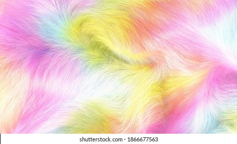 Colorful, pastel, faux fur background, 3D illustration, waving fluffy texture.