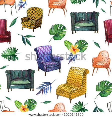 Colorful Pattern Of Different Chairs In Watercolor Style To Use In  Illustration,background, Interior
