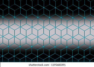 Colorful pattern with three dimensional hexagons made of rhombus in blue, gray and white colors. 3d illustration.
