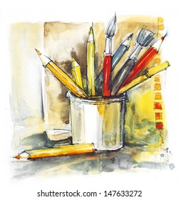 colorful pencils and brushes in a can, watercolor, back to school