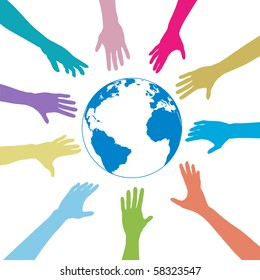 Colorful people hands reach out to a blue globe.