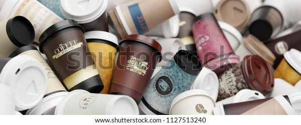 A colorful pile of empty to go coffee cups with differing package designs (3d rendering)