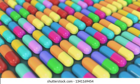 lot of colorful pills, concept of health and medicine or drugs (3d render)