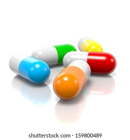 Colorful Pills with Reflection on White Background