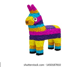 Colorful Pinata, front angle view isolated on white background. 3D Rendering, Illustration.