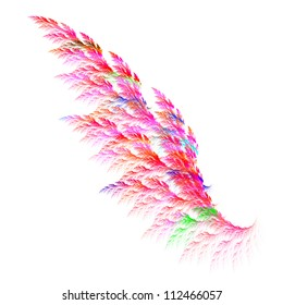 Colorful pink angel wing. Fractal graphics