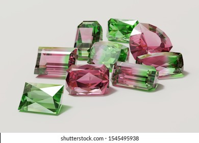 Colorful pink and green tourmaline  gemstones scattered on white background. 3D illustration