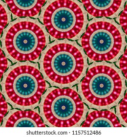 Colorful, pink, red, turquoise, tan geometric circle pattern. Abstract design, illustration for wallpaper, fabric, print, wrapping paper