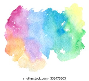 Colorful pink violet purple blue green orange yellow watercolor hand drawn isolated blot on white background. Wet brush painted stylized rainbow paper texture. Abstract vivid artistic illustration