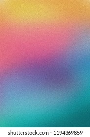 Colorful pink, yellow and turquoise gradient noisy grain background texture