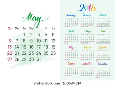Colorful planner, 2018, May separately, white-blue background, lettering, artboard. Stylish annual calendar for modern people.  illustration of chart