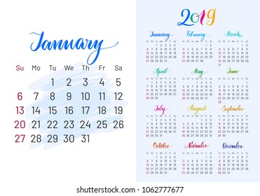 Colorful planner, 2019, January separately, white-blue background, lettering, artboard. Stylish annual calendar for modern people.  illustration of chart