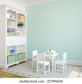 Colorful playroom interior. 3d render. Pictures in frames was painted by me in photoshop.