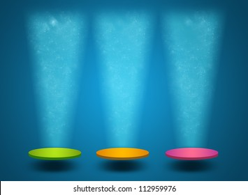 Colorful podium with glitter and shining lights