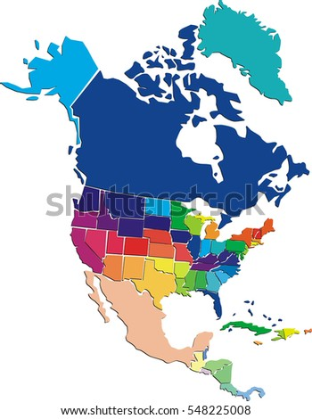 Colorful Political Map North America States Stock Illustration