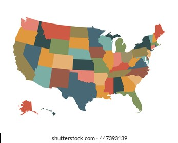 Colorful political USA map isolated on a white background. Map of the United States